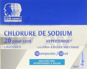 Chlorure de sodium hypertonique lavoisier 10%, solution à diluer injectable