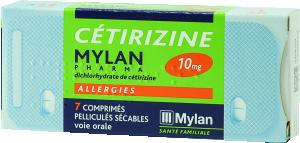 Cetirizine mylan pharma 10 mg, comprimé pelliculé sécable